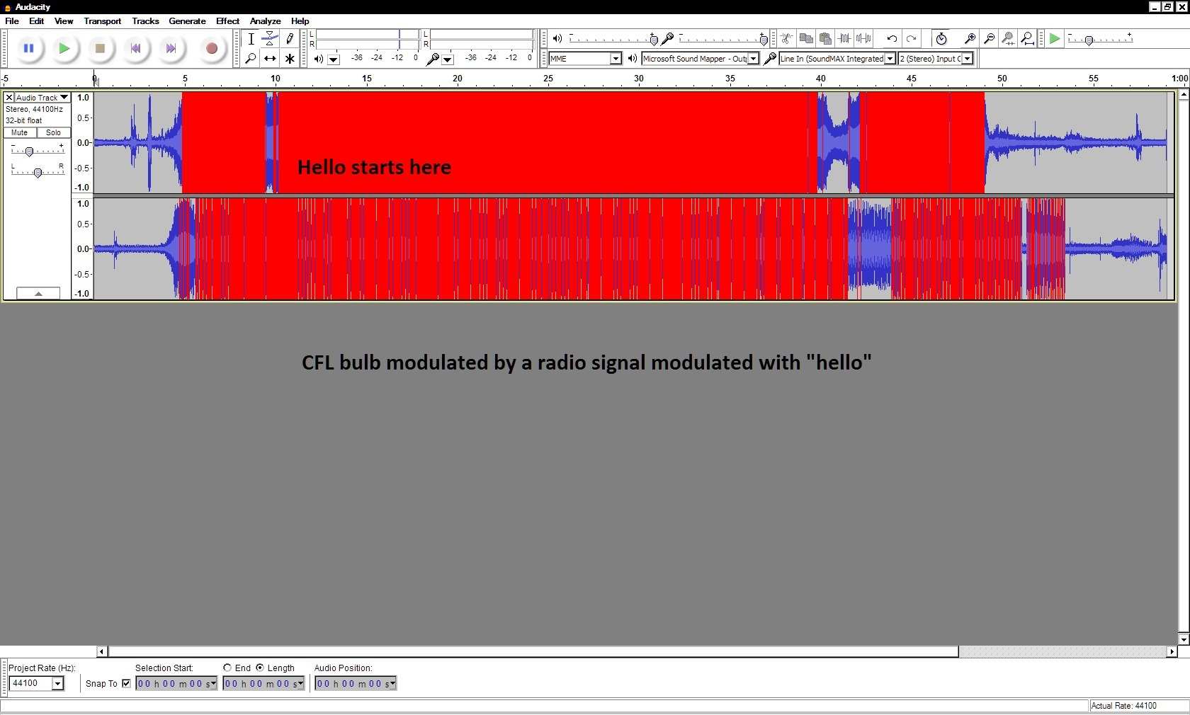 recording cfl bulb modulated by radio signal embedded with subliminal hello