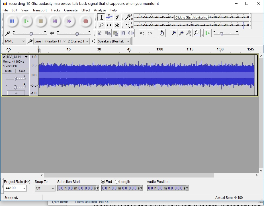 recording 10 Ghz audacity microwave talk back signal that disappears when you monitor it