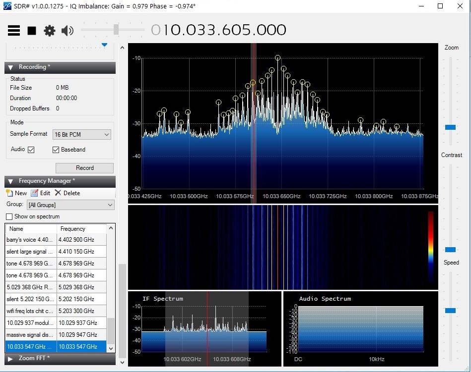 recording 10 Ghz multi form spread spectrum 21 march 2017