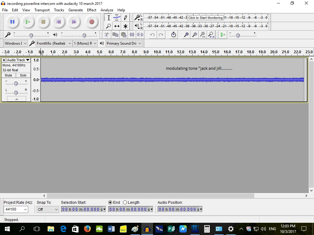recording powerline intercom with audacity 10 march 2017