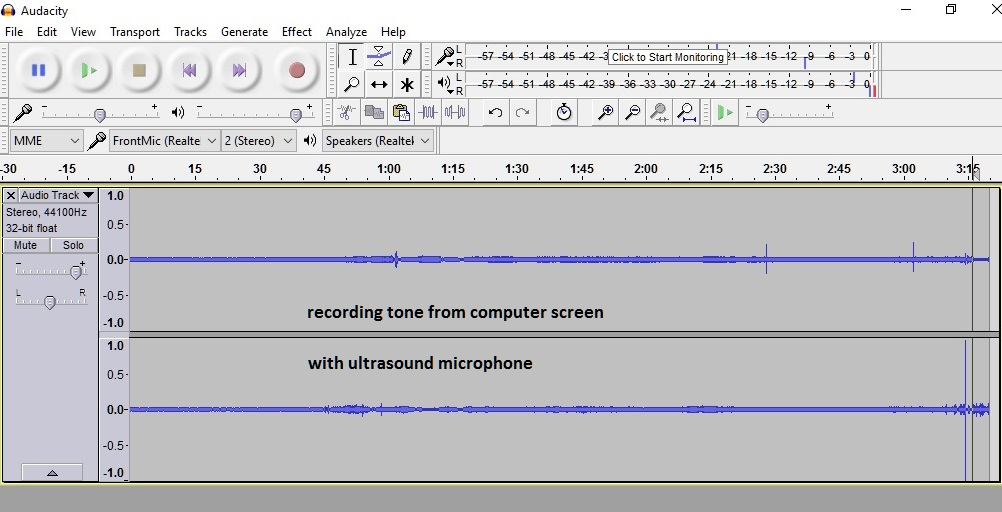 recording tone from computer screen with ultrasound microphone
