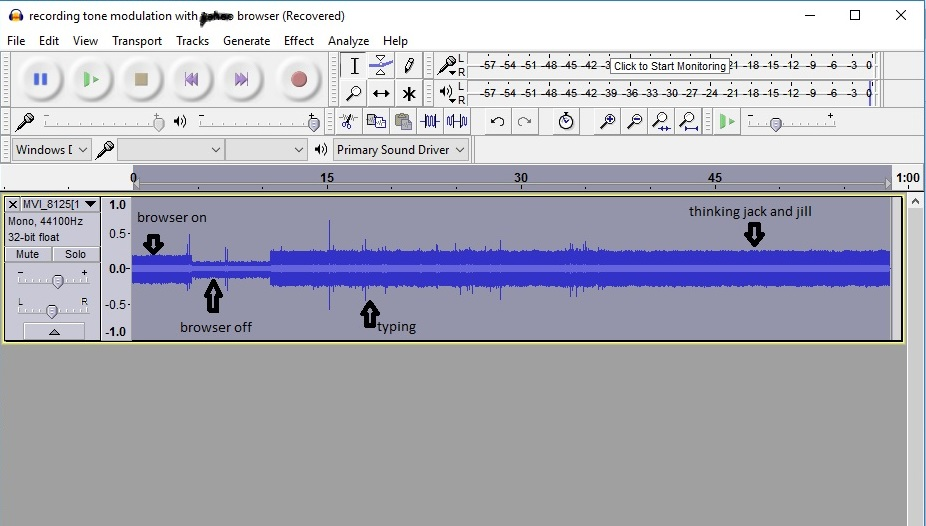 recording tone modulation with browser